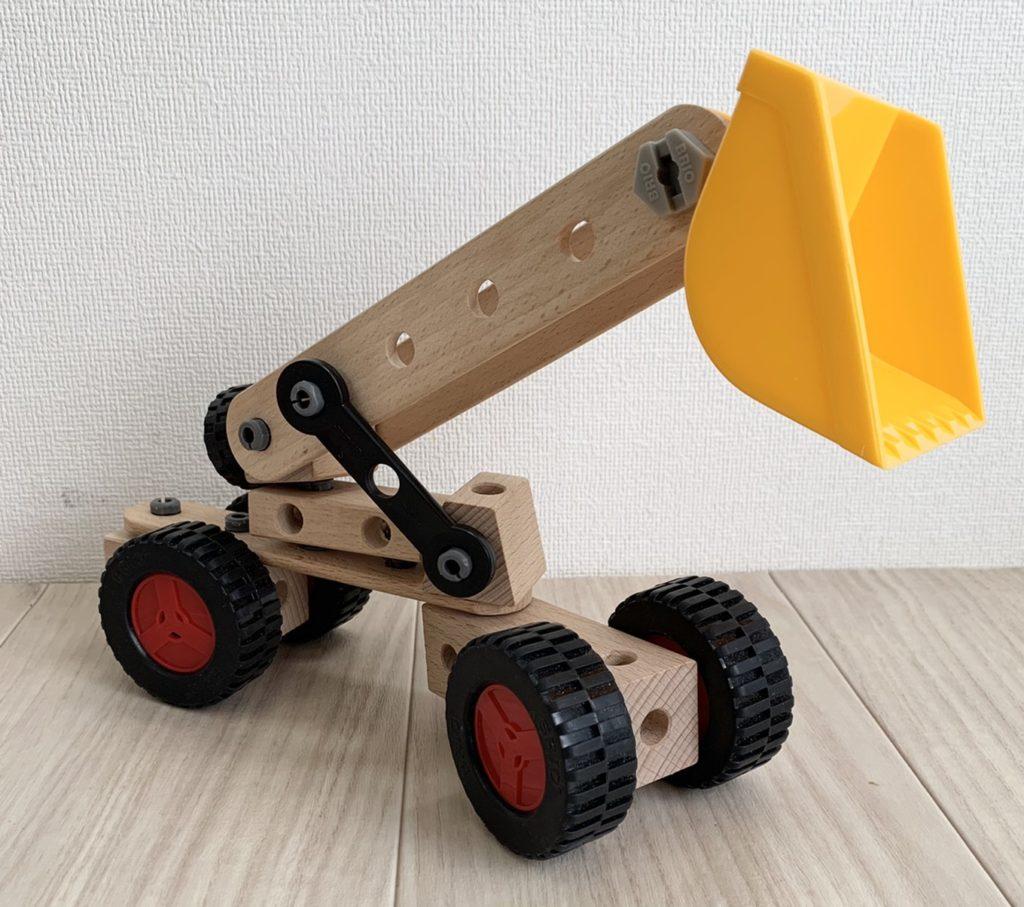 ブリオビルダーでショベルカーを作る遊び4歳のおもちゃ(BRIO)