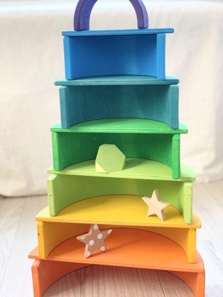 アーチレインボー半円盤のタワー遊び