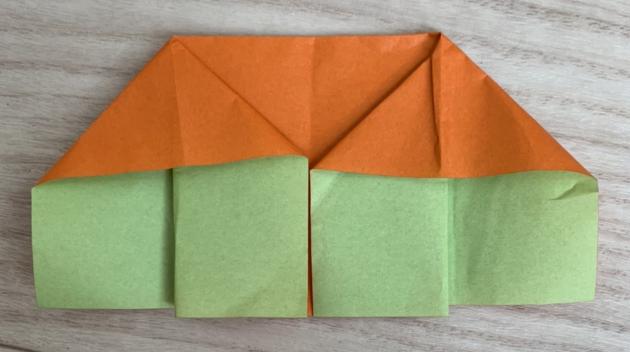 知育折り紙、折り紙で鶴をおるまでの過程6歳の年長男児